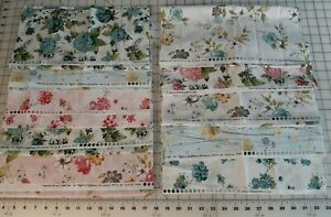 """10 Hoffman California Painted Petals Fabric Pieces 14"""" x WOF 3 3/4 Yards Total"""
