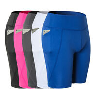 Women Compression Shorts with Pocket Workout Training Sports Yoga Pants Dri Fit