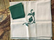 Vintage linen small tablecloth with floral applique & matching napkins white grn