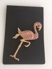 Pretty Pink Flamingo Bird Diamante Crystal Brooch / Gold metal 'Large' **NEW**