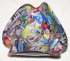 "MURANO BLACK SILVER ART GLASS ASHTRAY BOWL 2.5"" deep 6"" wide Great condition"