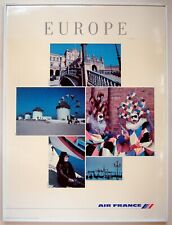 1991 Original Air France Airlines Travel Poster French Europe Spain Venice Italy