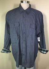 Basic Editions Long Sleeve Navy Blue Checkered Plaid Cuff Shirt Big Men's 2X NWT