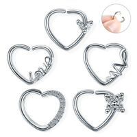 1PC Crystal Daith Heart Cartilage Tragus Piercing Rook Daith Earrings Nose Rings