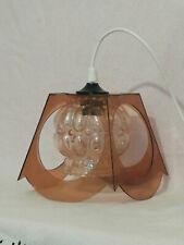 Suspension Luigi Colani verre boule fumé et plastique marron lampe design 1960