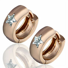 SMALL 14K ROSE GOLD GF HUGGIE HOOP EARRINGS WITH FLUORITE CRYSTAL LADIES MENS