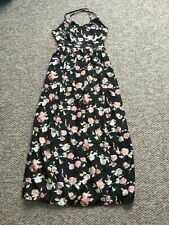 Clubl ladies black floral maxi backless dress size 8