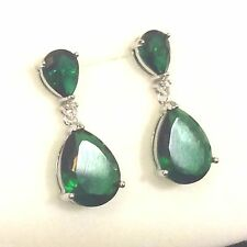 Designer Large Green Emerald Pear Drop Dangle Earrings white gold GF PlumUK BOXD