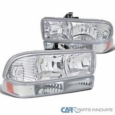 98-04 Chevy S10 Blazer Pickup Crystal Clear Driving Headlights+Bumper Lamps Pair