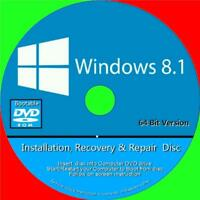 WINDOWS 8.1 INSTALL RECOVER REPAIR FIX DVD HOME BASIC/PROFESSIONAL 64Bit VERSION