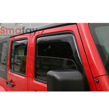 4X Side Window Visor Rain Guard Deflector Fit 2007-2017 Jeep Wrangler JK 4-Door