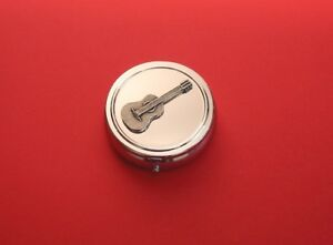 Acoustic Guitar Pewter Motif Chrome Mint / Pill Box Music Teacher Musician Gift