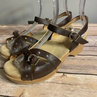 DANSKO SISSY 39 Sandals Brown Leather Ankle Strap Clogs Women's 8.5 9 Shoes