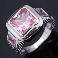 Fashion Cute Size 9 Men Womens Pink Sapphire 18K Gold Filled Rare Fashion Rings