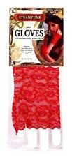 SteamPunk Cosplay Victorian Red Ruffled Lace Fingerless Gloves, NEW UNWORN