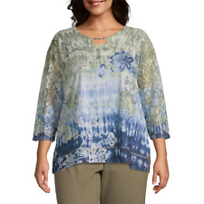 $60 ALFRED DUNNER LAKE TAHOE  FLORAL 3/4-SLEEVE PLUS SIZE TOP    SIZE 3X NWT