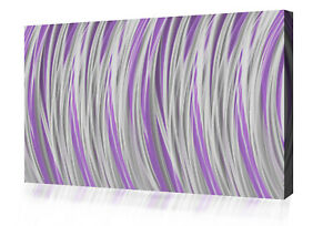 Grey Lilac Stripes Modern Abstract Canvas Wall Art Picture Print