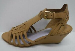 Johnston & Murphy Size 7 Tan Leather Wedge Sandals New Womens Shoes