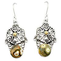 Natural Ocean Sea Jasper (madagascar) 925 Silver Dangle Earrings D12495