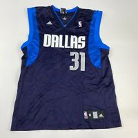 Adidas Dallas Mavericks Terry #31 Mesh Jersey Men's Medium Sleeveless Navy Blue