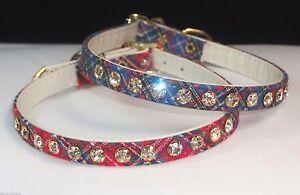 RHINESTONE X-Small DOG Pet Collar petite PLAID & Jewels CRYSTAL BLING tartan