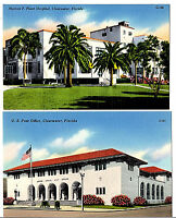 CLEARWATER Florida Tichnor Lot of 2 Linen Postcards Post Office Plant Hospital