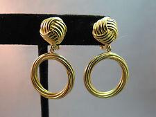 Monet Comfort Clip Hoop Earrings Luxury Gold Plated Open Work Door Knocker Knot