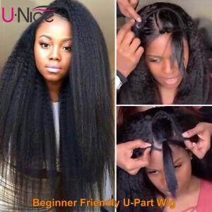 Malaysian U Part Wigs Kinky Yaki Straight Affordable Human Hair Wig 180% Density