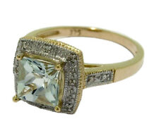 R102 - Genuine 9ct Gold NATURAL Aquamarine & Diamond ENGAGEMENT Ring size O