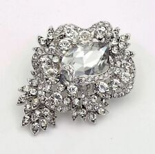 Luxury Vintage Style Bridal Wedding Bouquet Shiny Diamante Brooch Pin BR275