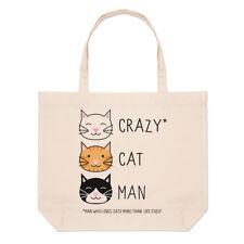 Crazy Cat Man Large Beach Tote Bag - Kitten Funny Shopper Shoulder