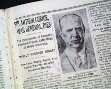 SIR ARTHUR CURRIE Canadian Army World War I General DEATH 1933 Old NYC Newspaper