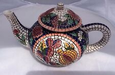 Mosaic Hand Painted Faience Tea Pot for Seymour Mann Mcmxciii
