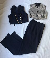 Vintage Georgiou Studio 2 Pc Suit Size 6 Pants Vests Lined Worsted Wool Brass Bu