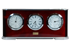 Vtg Iko Desk Clock Hygrometer And Barometer Cherrywood Business Card Pen Holder