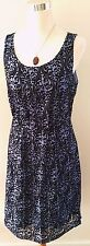 Ann Taylor Loft Black and Purple Baroque Gothic Sleeveless Dress SZ 8
