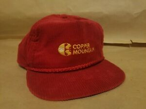 Vintage Copper Mountain USA Colorado Ski Hat Cap Corduroy Red Adjustable Rope