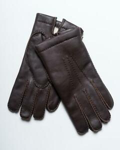 Kiton Napoli $680 NWT Dark Brown Leather Shearling Lined Driving Gloves 10 L
