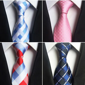 Mens Ties Silk Design Neck Ties 8cm Plaid&Striped Ties for Men Formal Business