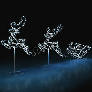 Flying Reindeer Sleigh Light Outdoor Christmas Decoration White Wire LED 3m Long