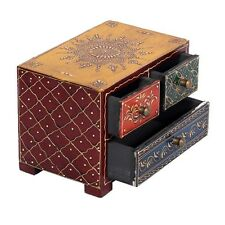 Indian Hand Made Carved Wood Wooden Box Chest Drawers Jewellery Box Henna Work