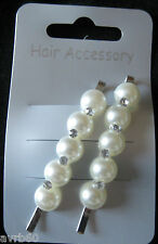 hair pins set of 2 faux pearl and crystal hair grip style clips new