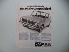 advertising Pubblicità 1972 DAF 66 SL