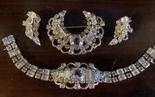 Vintage Kramer of NY Demi Parure BROOCH Bracelet Earrings Set Aquamarine Blue