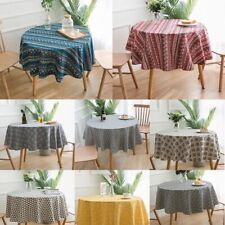 Vintage Round Tablecloth Boho Printed Geometric Table Cloth Covers Cotton Linen