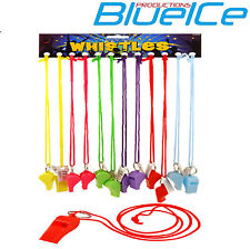 12x Plastic neon carnival rave whistles with lanyard.Party bag fillers,disco, UK
