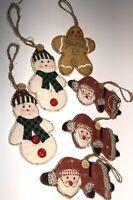 Christmas Santa Claus Snowman Gingerbread Man Cloth Hand Made Ornament 6 Vtg