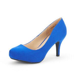 US Women's Classic Low Stiletto Heel Party Dress Platform Pump Shoes Size 5 - 12