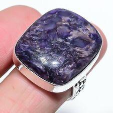 Russian Charoite Gemstone Handmade Ethnic Style Jewelry Ring Size 8.5 VJ-8696