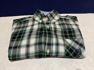 Boys Chaps Dress Shirt Size Medium (10-12) Green Black Plaid Button Up Dressy